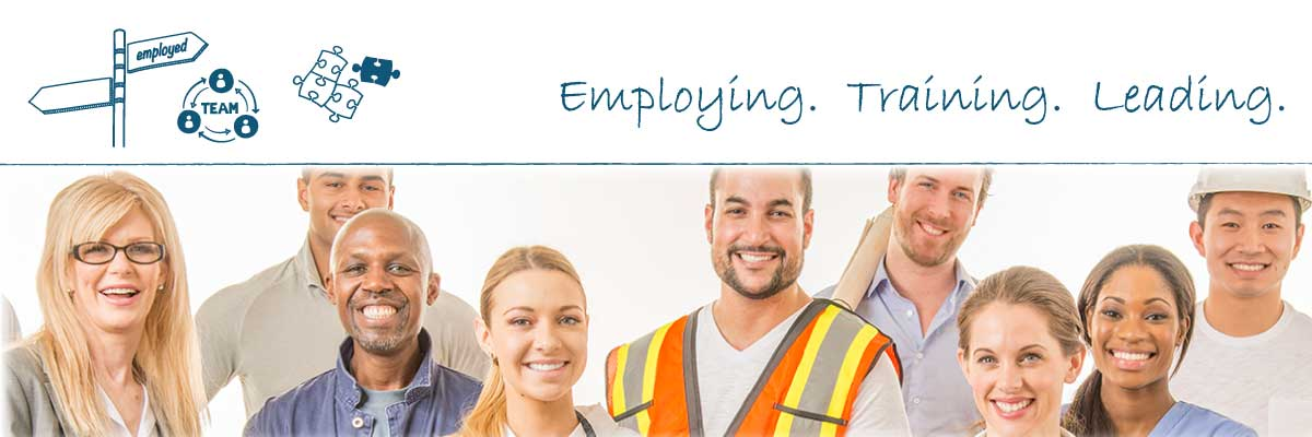 Group of employers with words: employing, training, leading.